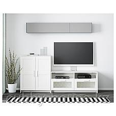 БРИМНЭС Шкаф для ТВ, комбинация, (белый, чёрный) 200x41x95 см, фото 2