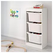 TROFAST ТРУФАСТ Комбинация д/хранения+контейнеры, белый/белый, 46x30x94 см
