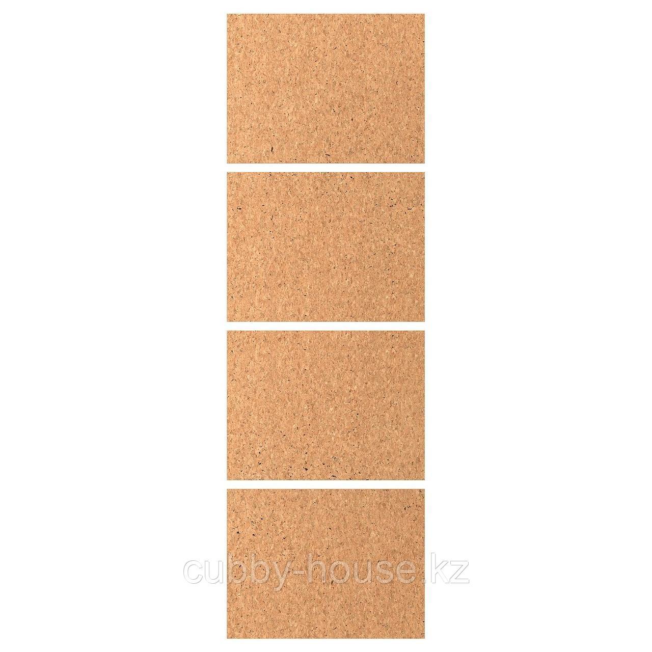 КИРКЕНЕС 4 панели д/рамы раздвижной дверцы, пробковый шпон пробка, 100x236 см