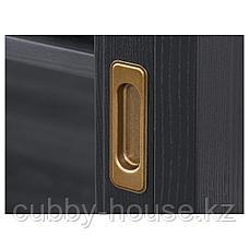 МАЛЬШЁ Тумба под ТВ с раздвижными дверцами, черная морилка, 160x48x59 см, фото 3