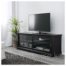 МАЛЬШЁ Тумба под ТВ с раздвижными дверцами, черная морилка, 160x48x59 см, фото 2
