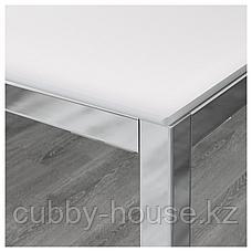 ТОРСБИ Стол, хромированный, стекло белый, 120x70 см, фото 2