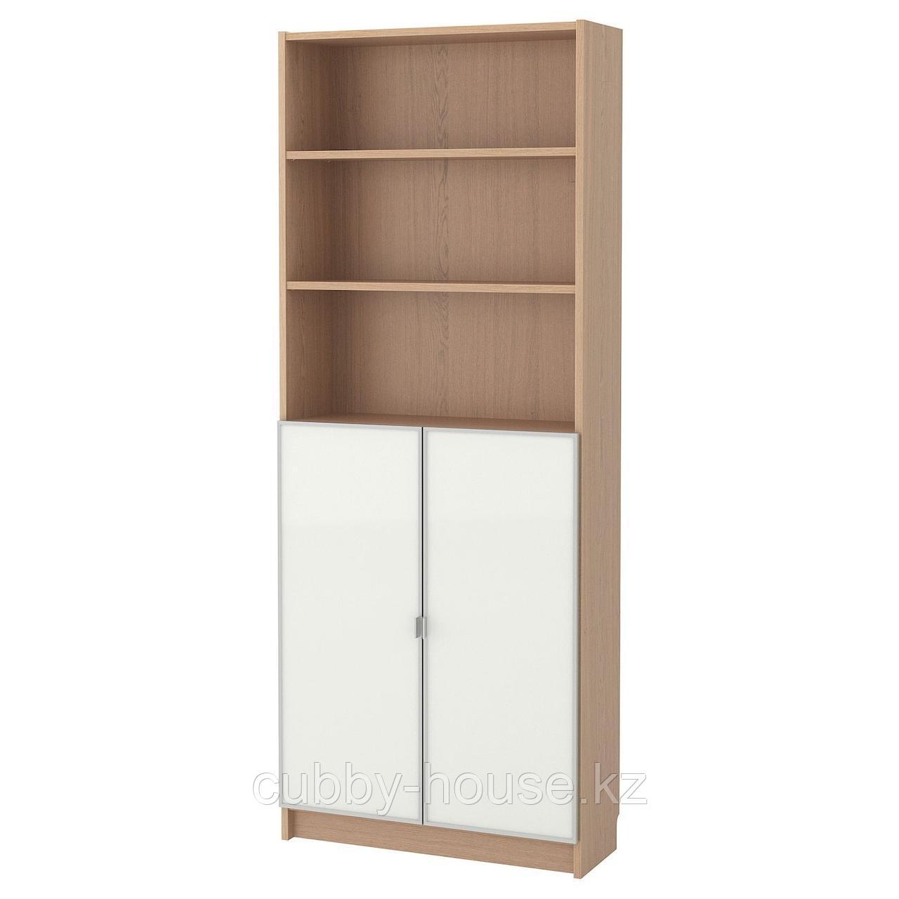 БИЛЛИ / МОРЛИДЕН Шкаф книжный со стеклянными дверьми, белый, стекло, 80x30x202 см