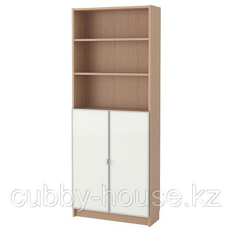 БИЛЛИ / МОРЛИДЕН Шкаф книжный со стеклянными дверьми, белый, стекло, 80x30x202 см, фото 2