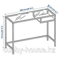 ВИТШЁ Стол д/ноутбука, белый, стекло, 100x36 см, фото 3