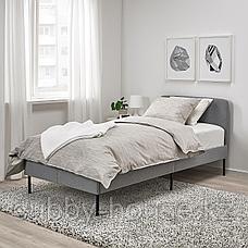 СЛАТТУМ Каркас кровати с обивкой, Книса светло-серый, 90x200 см, фото 2