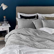 БЕРГПАЛМ Пододеяльник и 2 наволочки, серый, полоска, 200x200/50x70 см, фото 2