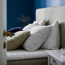 БЕРГПАЛМ Пододеяльник и 2 наволочки, серый, полоска, 200x200/50x70 см, фото 3