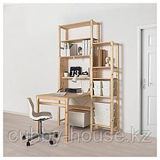 ИВАР Модуль д/хранения/складной стол, сосна, 80x30-104x155 см, фото 3