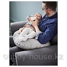 ЛЕН Подушка для кормления, серый, 60x50x18 см, фото 3