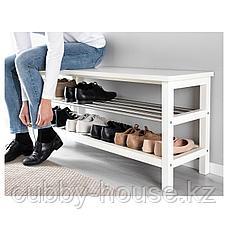 ЧУСИГ Скамья с полкой для обуви, белый, 108x50 см, фото 3
