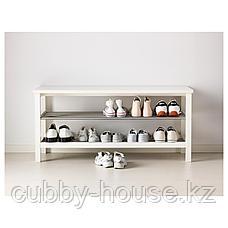 ЧУСИГ Скамья с полкой для обуви, белый, 108x50 см, фото 2