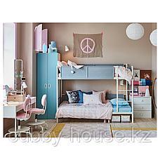 ВИТВАЛ Каркас 2-ярусной кровати, белый, светло-серый, 90x200 см, фото 3