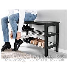 ЧУСИГ Скамья с полкой для обуви, черный, 81x50 см, фото 3