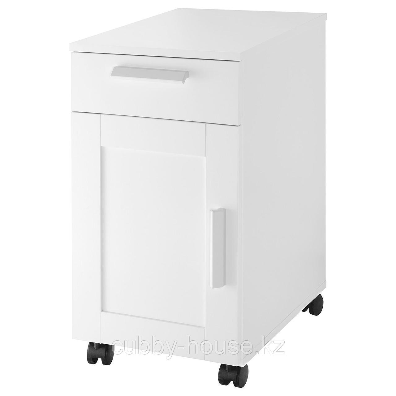 БРИМНЭС Тумба с ящиками на колесах, (белый, черный), 35x68 см