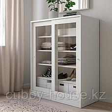 СЮВДЕ Шкаф со стеклянными дверцами, белый, 100x123 см, фото 3
