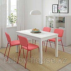 ЛАНЕБЕРГ Раздвижной стол, белый, 130/190x80 см, фото 3