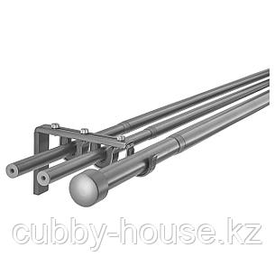 ХУГАД / РЭККА Тройной гардинный карниз,комбинация, серебристый, 210-385 см, фото 2