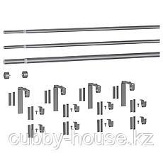 ХУГАД / РЭККА Тройной гардинный карниз,комбинация, серебристый, 210-385 см, фото 3