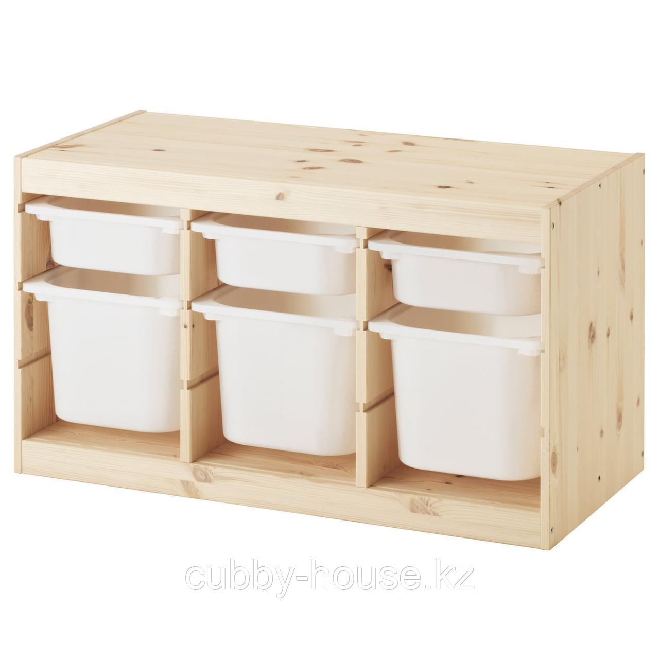 ТРУФАСТ Комбинация д/хранения+контейнеры, светлая беленая сосна белый, оранжевый, 94x44x52 см