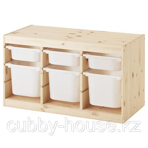 ТРУФАСТ Комбинация д/хранения+контейнеры, светлая беленая сосна белый, оранжевый, 94x44x52 см, фото 2