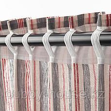 БЕРГСКРАББА Гардины, 1 пара, серый, красный в полоску, 145x300 см, фото 3