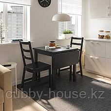 НОРДВИКЕН Стол с откидной полой, черный, 74/104x74 см, фото 3
