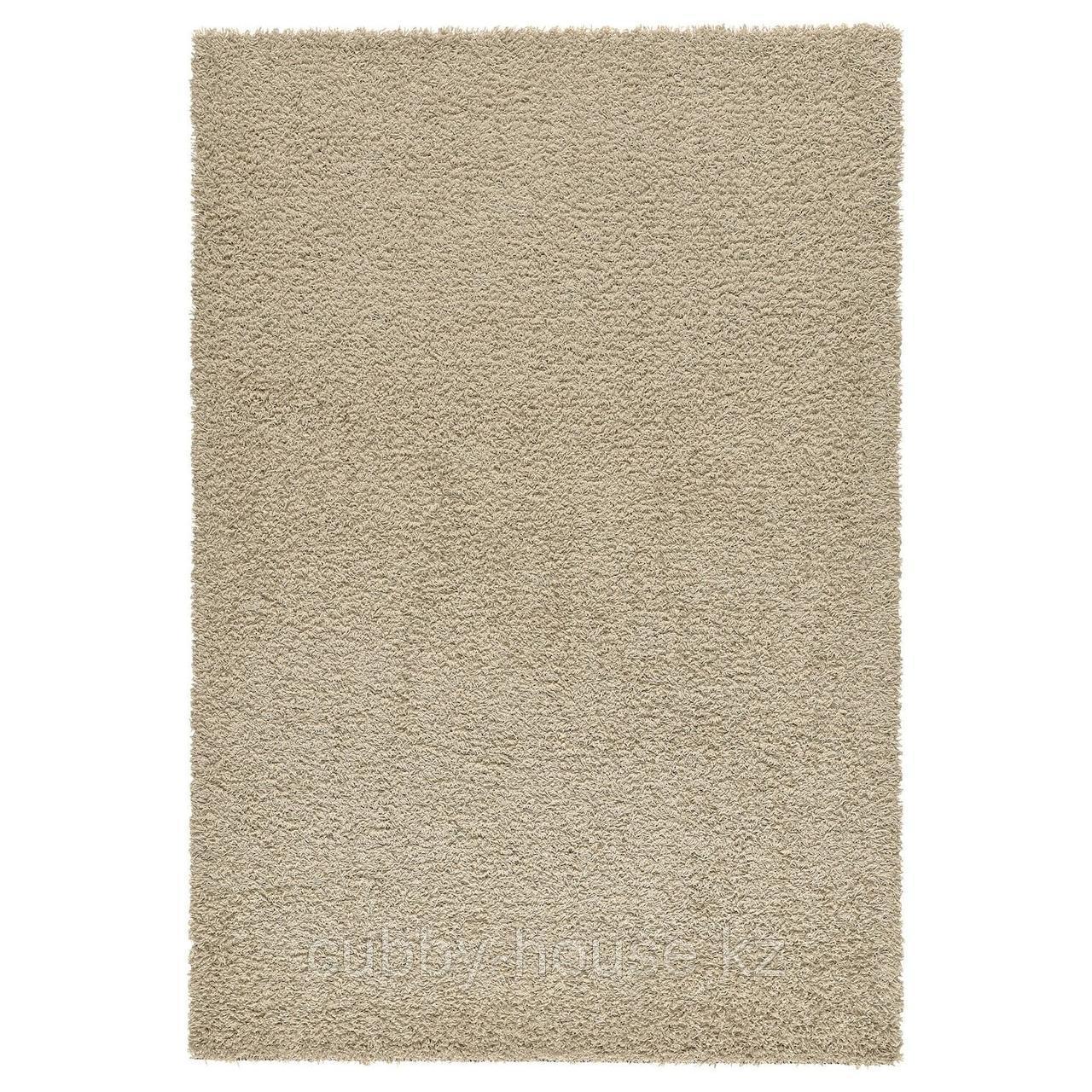 ХАМПЭН Ковер, длинный ворс, бежевый, 80x80 см