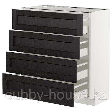 МЕТОД / МАКСИМЕРА Напольн шкаф 4 фронт панели/4 ящика, черный, Лерхюттан черная морилка, 80x37 см, фото 2