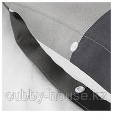 БРУНКРИСЛА Пододеяльник и 2 наволочки, черный, 200x200/50x70 см, фото 3