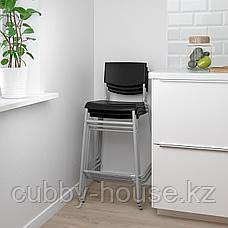 СТИГ Стул барный, черный, серебристый, 63 см, фото 3