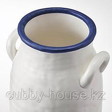 ГОДТАГБАР Ваза, керамика белый/синий, 25 см, фото 3