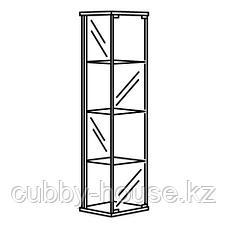 ДЕТОЛЬФ Шкаф-витрина, черно-коричневый, 43x163 см, фото 3