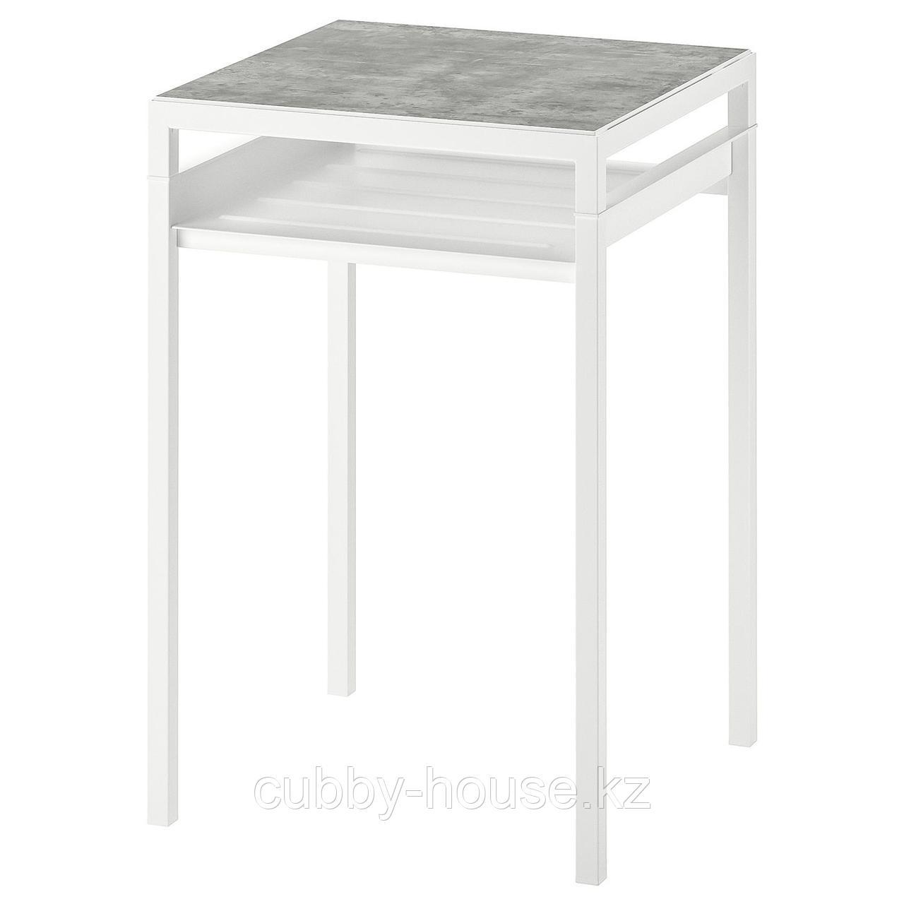 НИБОДА Столик с двусторонней столешницей, темно-серый под бетон, черный, 40x40x60 см