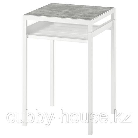 НИБОДА Столик с двусторонней столешницей, темно-серый под бетон, черный, 40x40x60 см, фото 2