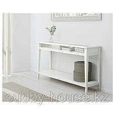 ЛИАТОРП Консольный стол, белый, стекло, 133x37 см, фото 3