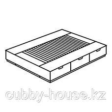 НОРДЛИ Каркас кровати с ящиками, белый, 180x200 см, фото 2