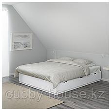 НОРДЛИ Каркас кровати с ящиками, белый, 180x200 см, фото 3