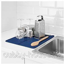 НЮХОЛИД Коврик для сушки посуды, синий, 44x36 см, фото 3
