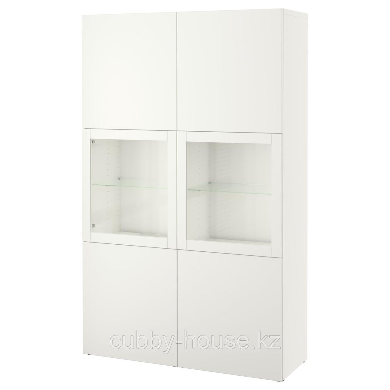 БЕСТО Комбинация д/хранения+стекл дверц, под беленый дуб, Нотвикен синий прозрачное стекло, 120x42x192 см