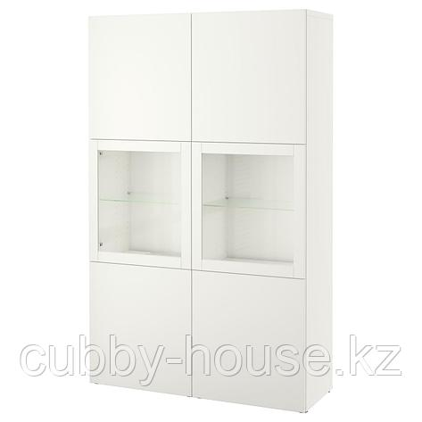 БЕСТО Комбинация д/хранения+стекл дверц, под беленый дуб, Нотвикен синий прозрачное стекло, 120x42x192 см, фото 2