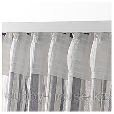 ПРАКТКЛОККА Гардины, 1 пара, серый, в полоску, 145x300 см, фото 3