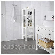 ХЕМНЭС Высокий шкаф со стеклянной дверцей, белый, 42x38x131 см, фото 3