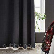 ХИЛЛЕБОРГ Гардины, блокирующие свет, 1 пара, серый, 145x300 см, фото 2