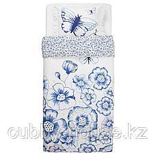 СОНГЛЭРКА Пододеяльник и 1 наволочка, бабочка, белый синий, 150x200/50x70 см, фото 3