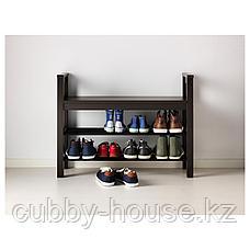ХЕМНЭС Скамья с полкой для обуви, черно-коричневый, 85x32 см, фото 3