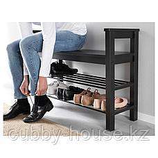 ХЕМНЭС Скамья с полкой для обуви, черно-коричневый, 85x32 см, фото 2