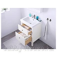 ХЕМНЭС / ОДЕНСВИК Шкаф для раковины с 2 ящ, белый, РУНШЕР смеситель, 63x49x89 см, фото 2