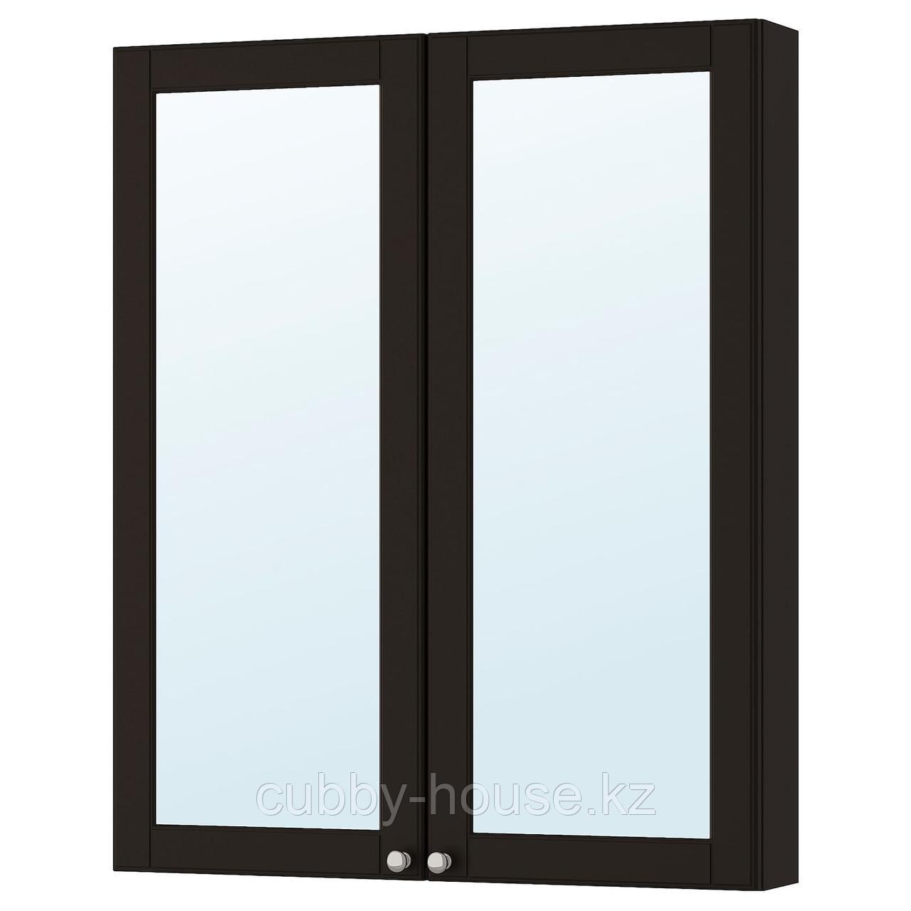 ГОДМОРГОН Зеркальный шкаф с 2 дверцами, Кашён светло-серый, 80x14x96 см