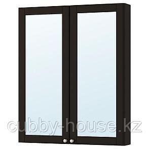 ГОДМОРГОН Зеркальный шкаф с 2 дверцами, Кашён светло-серый, 80x14x96 см, фото 2